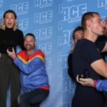 Marvel superfan proposed with an infinity stone ring in front of Captain Marvel